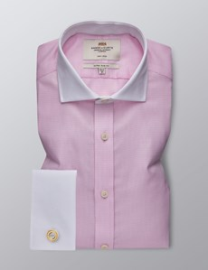 Men's Business Pink & White Dobby Extra Slim Fit Shirt - Double Cuff - Non Iron