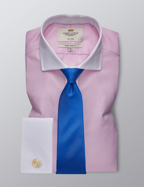 Men's Dress Pink & White Dobby Extra Slim Fit Shirt - French Cuff - Non Iron