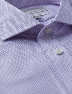 Men's Business Lilac & White Dobby Extra Slim Fit Shirt - Double Cuff - Windsor Collar - Non Iron