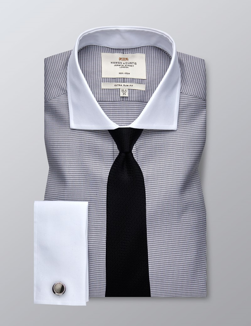 Men's Business Grey Textured Extra Slim Fit Shirt - Double Cuff - Windsor Collar - Easy Iron