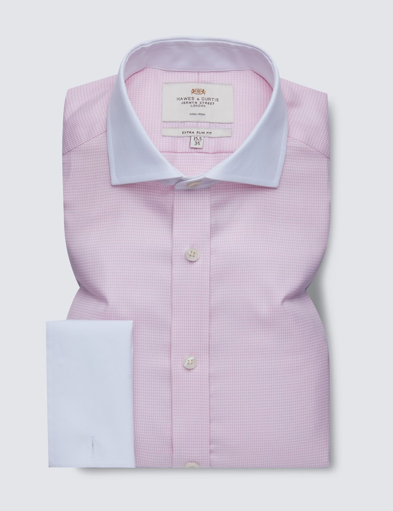 Men's Dress Pink & White Dogstooth Extra Slim Fit Shirt - French Cuff - Windsor Collar - Non Iron