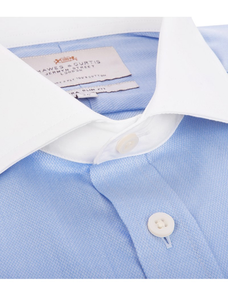 Men's Blue Extra Slim Fit Double Cuff Shirt - White Collar and Cuff - Easy Iron