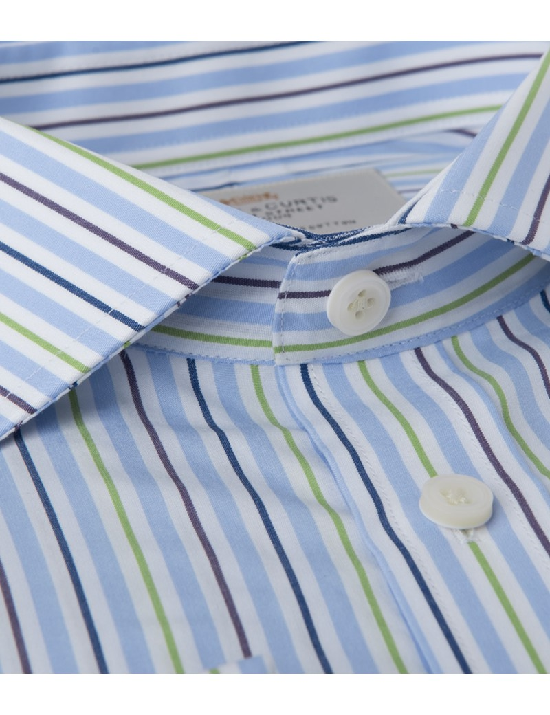 Men's  Blue & Green Multi Stripe Extra Slim Business Shirt - Windsor Collar - Double Cuff - Easy Iron