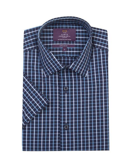 Men's Navy & Blue Grid Check Extra Slim Fit Cotton Shirt - Short Sleeve