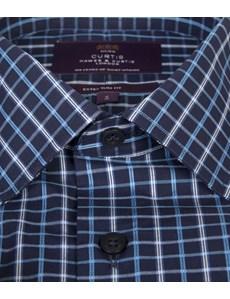 Men's Navy & Blue Grid Plaid Extra Slim Fit Cotton Shirt - Short Sleeve