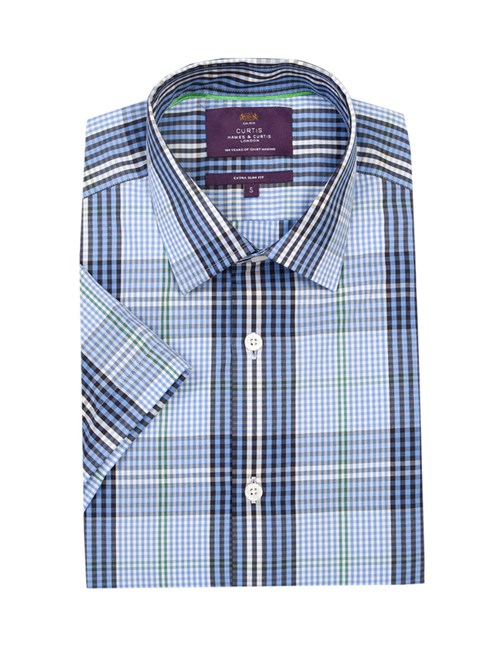 Men's Blue & Green Large Plaid Extra Slim Fit Cotton Shirt - Short Sleeve
