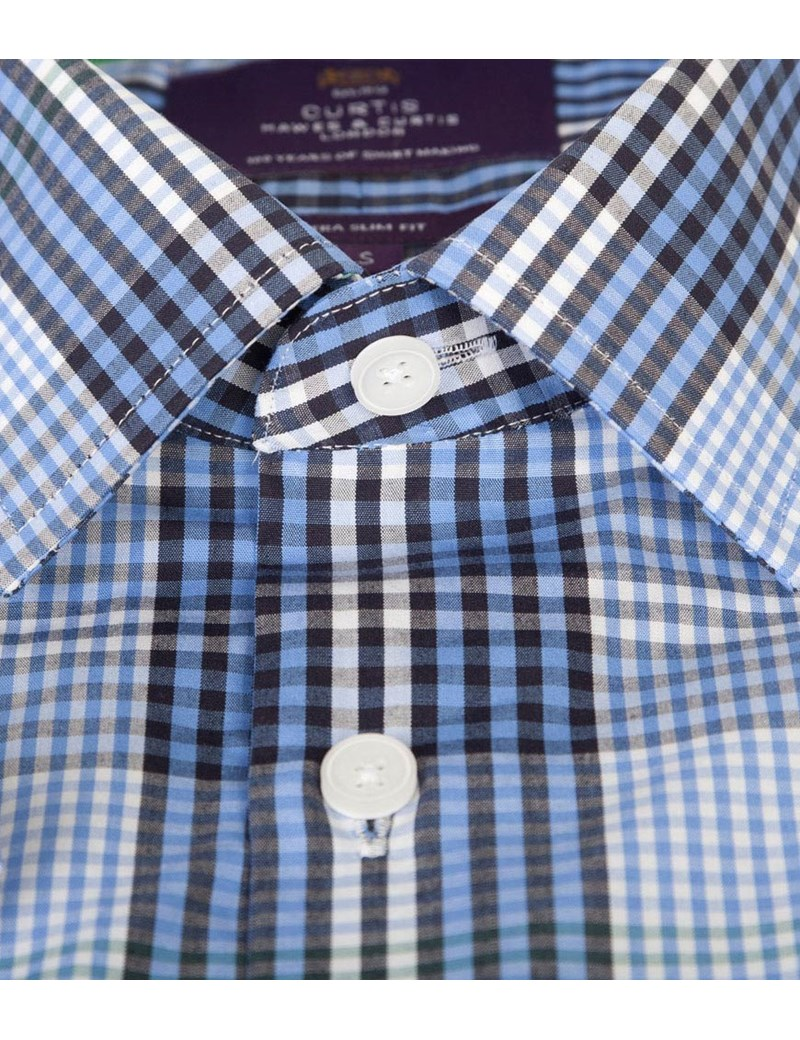 Men's Blue & Green Large Check Extra Slim Fit Cotton Shirt - Short Sleeve