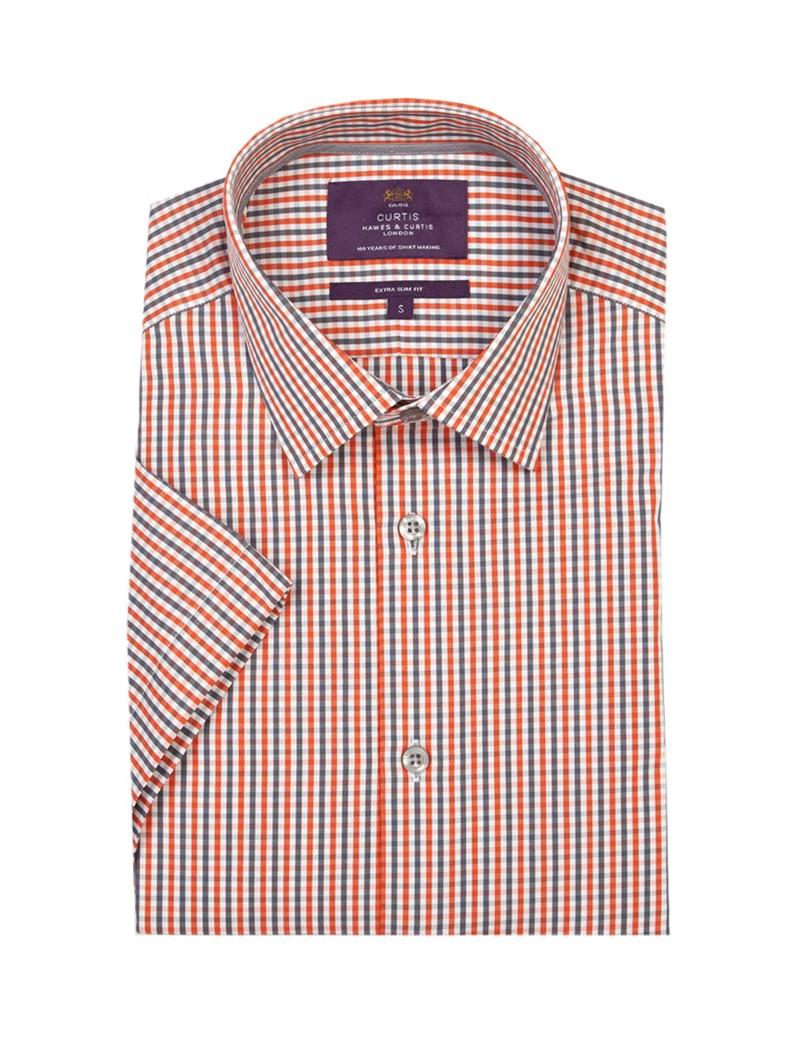 Men's Orange & Grey Grid Plaid Extra Slim Fit Cotton Shirt - Short Sleeve