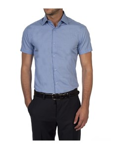Men's Dk Blue Extra Slim Fit Short Sleeve Cotton Shirt