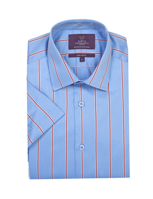 Men's Blue & Red Wide Stripe Extra Slim Fit Shirt - Short Sleeve