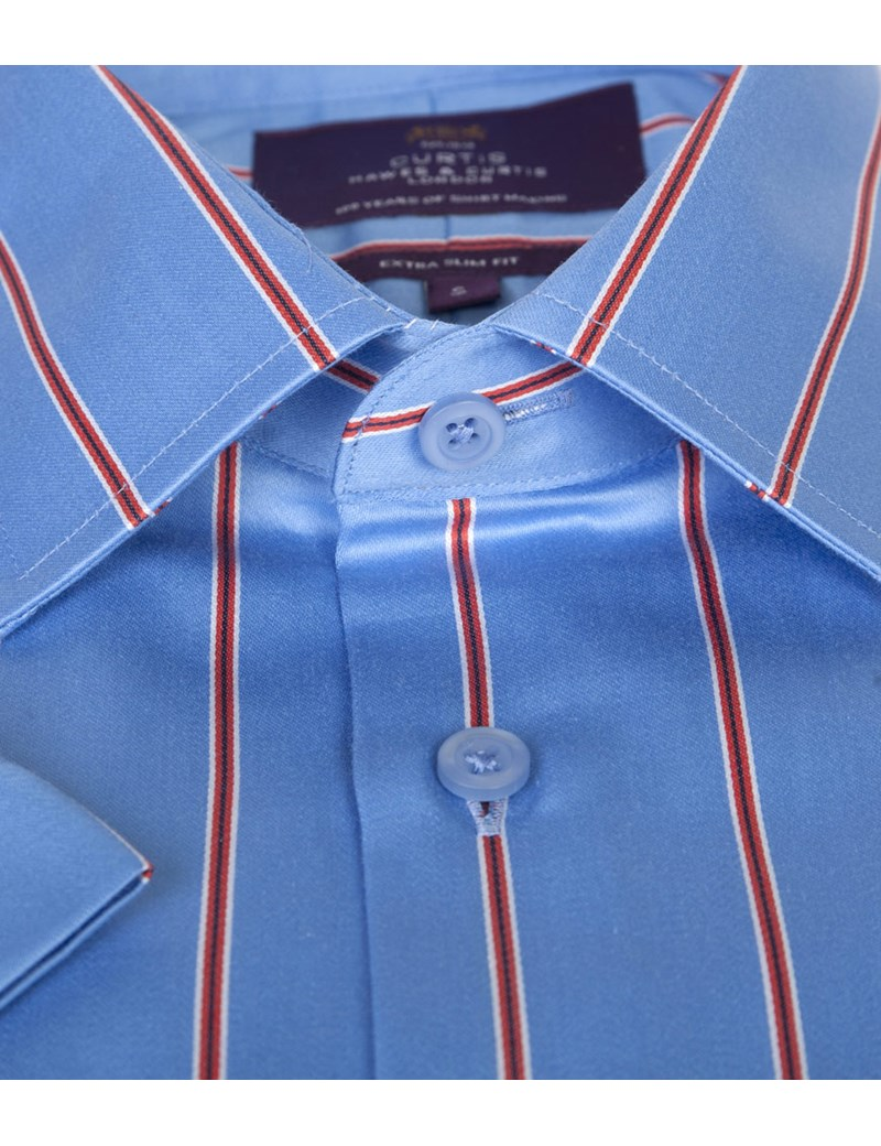 Men's Blue & Red Wide Stripe Extra Slim Fit Cotton Shirt - Short Sleeve