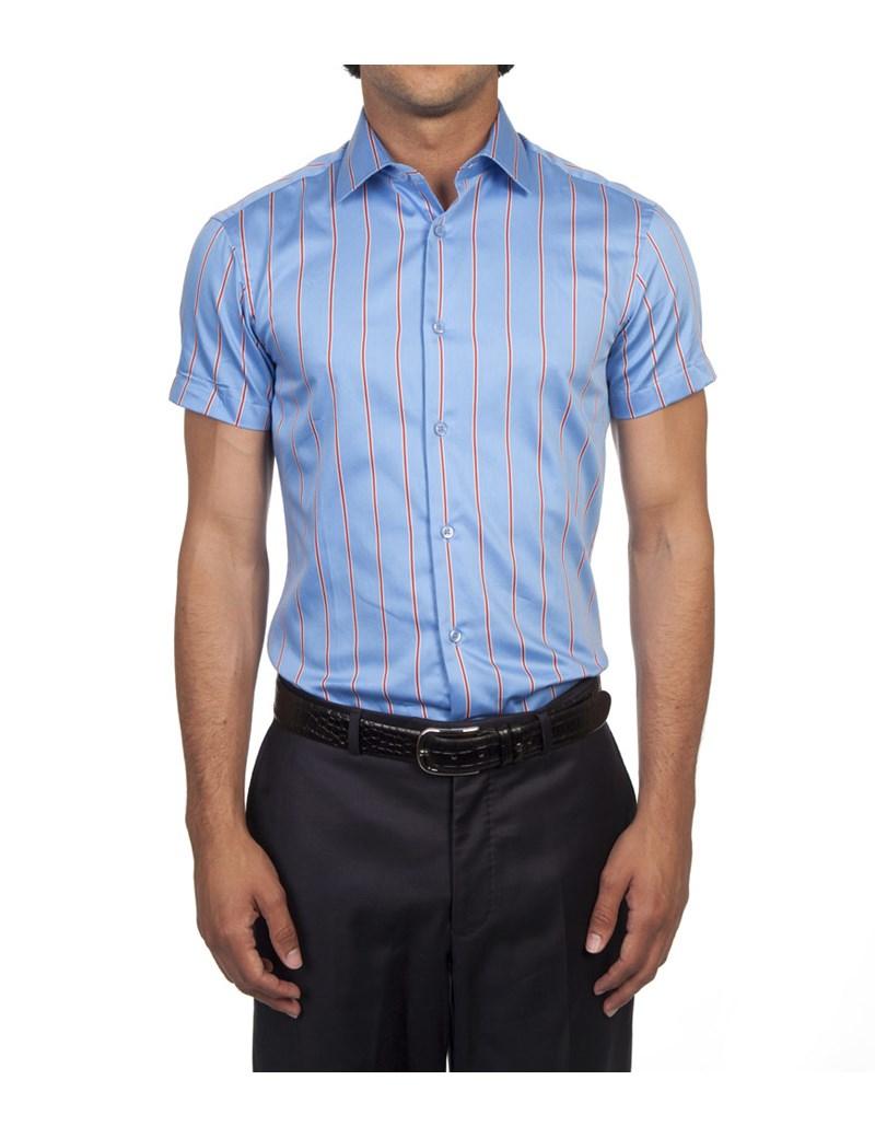 Men's Blue & Red Wide Stripe Extra Slim Fit Shirt - Short Sleeve