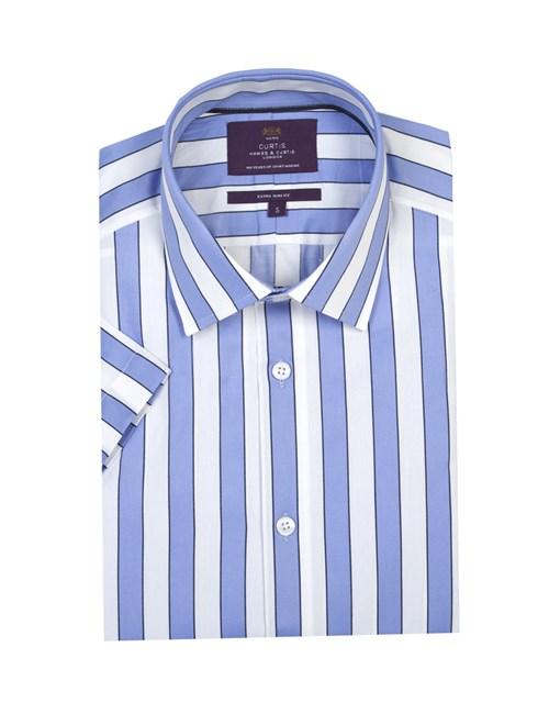 Herrenhemd - Extra Slim Fit - Kurzarm - helblau-weiß gestreift