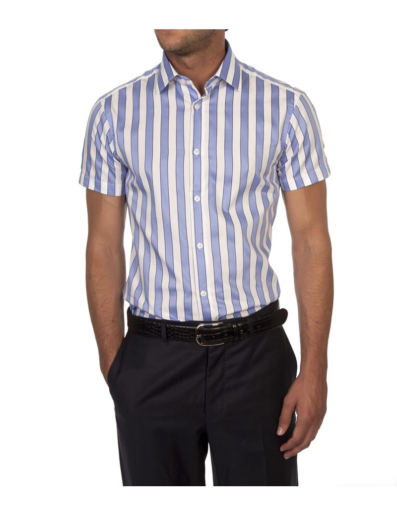 Men's Lilac & White Wide Stripe Extra Slim Fit Cotton Shirt - Short Sleeve