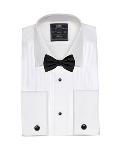 Men's Formal White Pleated Slim Fit Evening Shirt - Semi Cutaway Collar - Double Cuff - Easy Iron