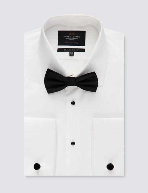Men's Formal White Waffle Design Slim Fit Evening Shirt - Windsor Collar - Double Cuff - Easy Iron