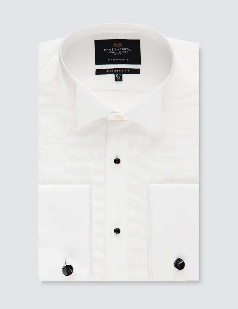 Men's White Waffle Slim Fit Evening Shirt - Wing Collar - French Cuff - Easy Iron