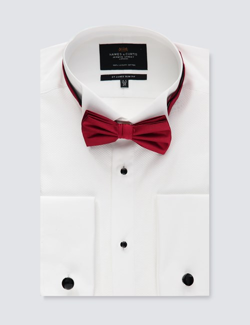 Men's  White Waffle Slim Fit Evening Business Shirt - Wing Collar - Double Cuff - Easy Iron
