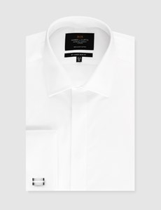 Men's Formal White Waffle Slim Fit Evening Shirt - Double Cuff - Easy Iron