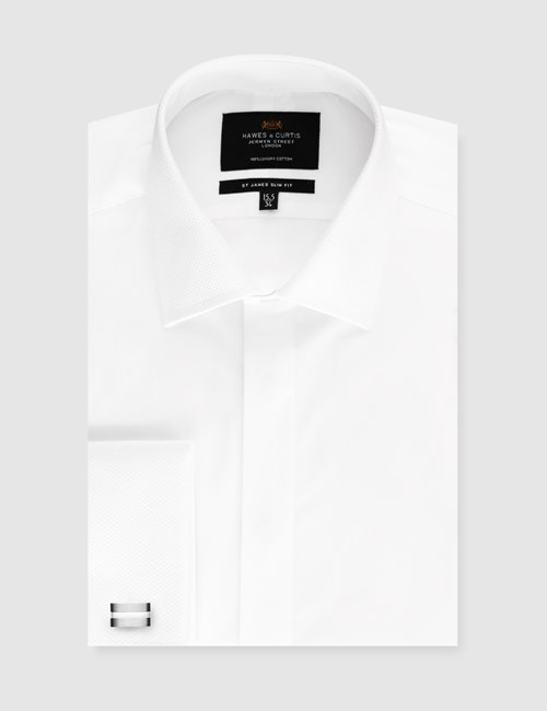 Men's Dress White Waffle Slim Fit Evening Shirt - French Cuff - Easy Iron
