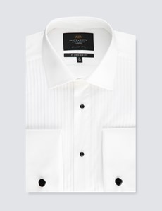 Men's Formal White Pleat Slim Fit Evening Shirt - Double Cuff - Easy Iron