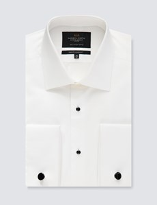 Men's White Waffle Classic Fit Evening Shirt - Semi Cutaway Collar - French Cuff - Easy Iron