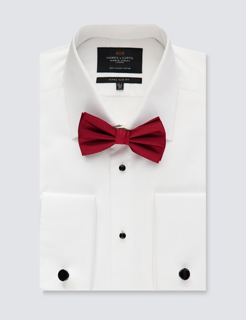 Men's Formal White Extra Slim Fit Evening Shirt - Windsor Collar - Double Cuff - Easy Iron