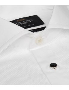 Men's Business White Extra Slim Fit Evening Business Shirt - Windsor Collar - Double Cuff - Easy Iron