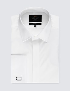 Men's Business White Waffle Extra Slim Fit Evening Shirt - Double Cuff - Easy Iron