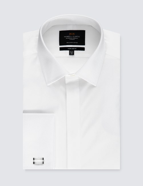 Men's Formal White Waffle Extra Slim Fit Evening Shirt - Double Cuff - Easy Iron
