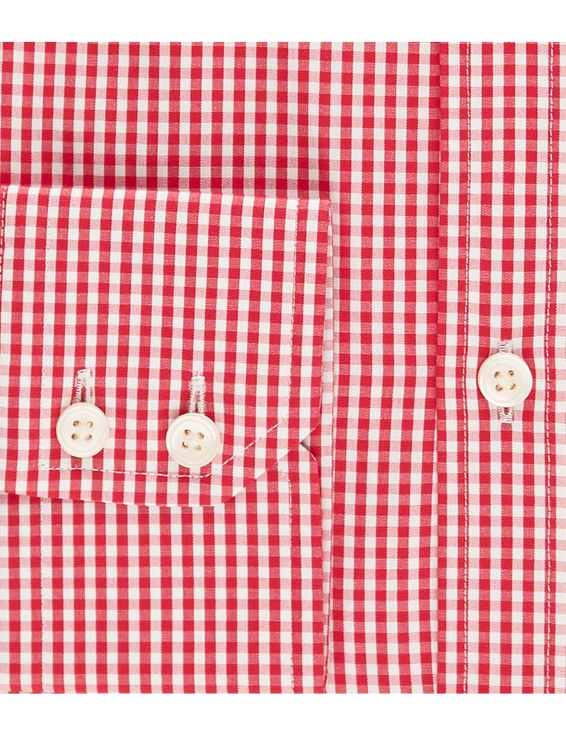 Men's Red & White Gingham Extra Slim Fit Shirt - Windsor Collar - Single Cuff - Easy Iron