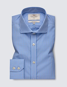 Men's Dress Blue & White Gingham Plaid Extra Slim Fit Shirt - Single Cuff - Windsor Collar - Non Iron