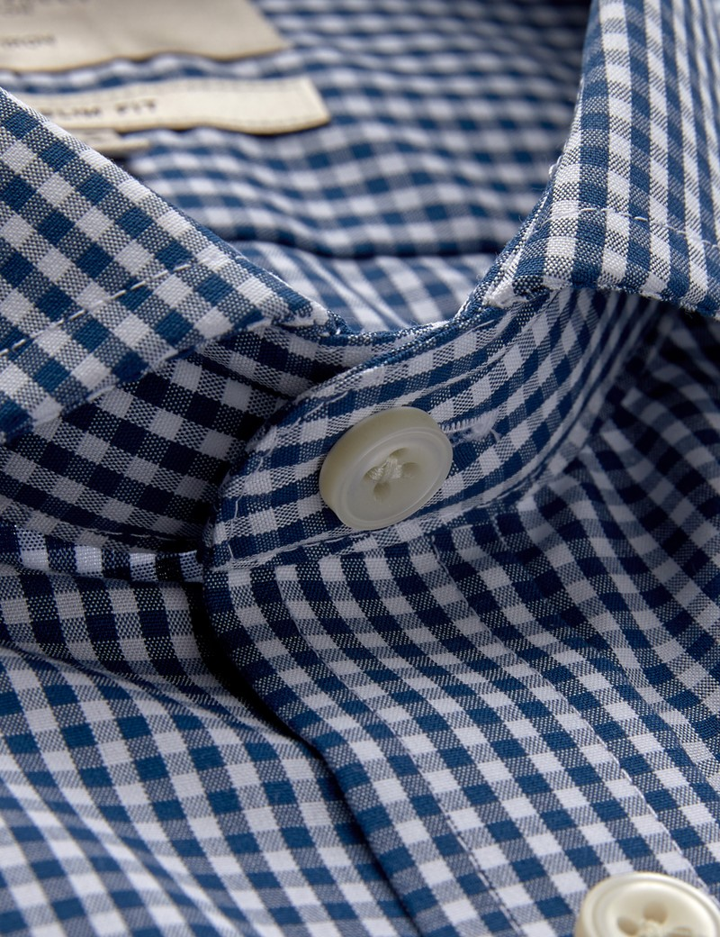Men's Business Navy & White Gingham Check Extra Slim Fit Shirt - Single Cuff - Windsor Collar - Non Iron