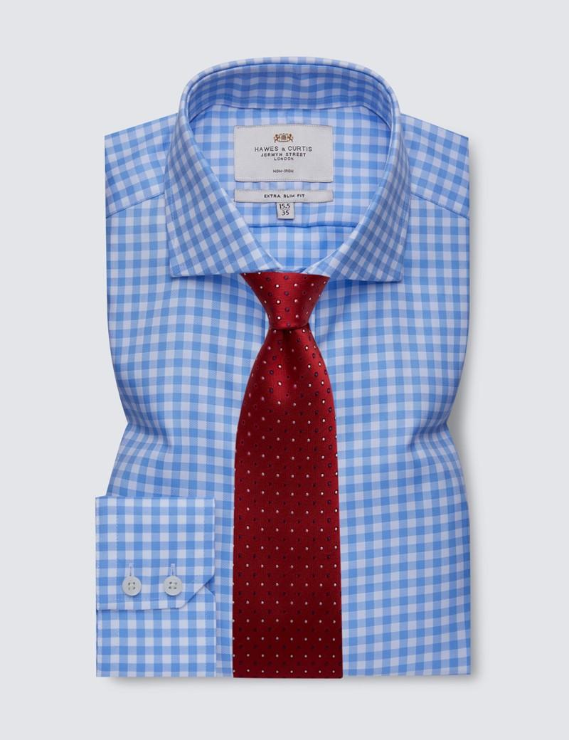 Men's Dress Blue & White Large Gingham Plaid Extra Slim Fit Shirt - Windsor Collar - Non Iron