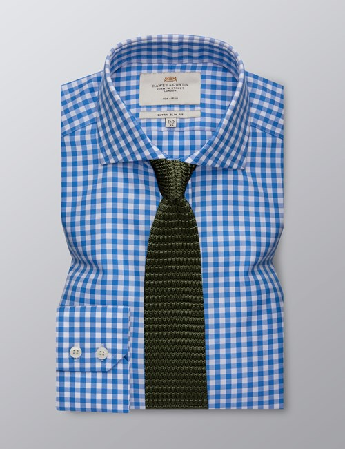 Men's Formal Blue & White Gingham Check Extra Slim Fit Shirt - Single Cuff - Windsor Collar - Non Iron