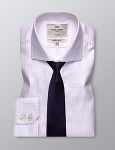 Men's Business Pink & White Grid Check Extra Slim Fit Shirt - Single Cuff - Windsor Collar - Non Iron