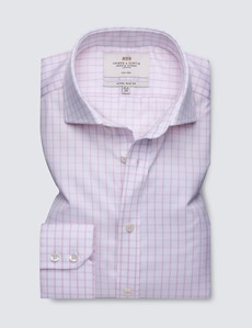 Non Iron Pink & White Checked Extra Slim Fit Shirt