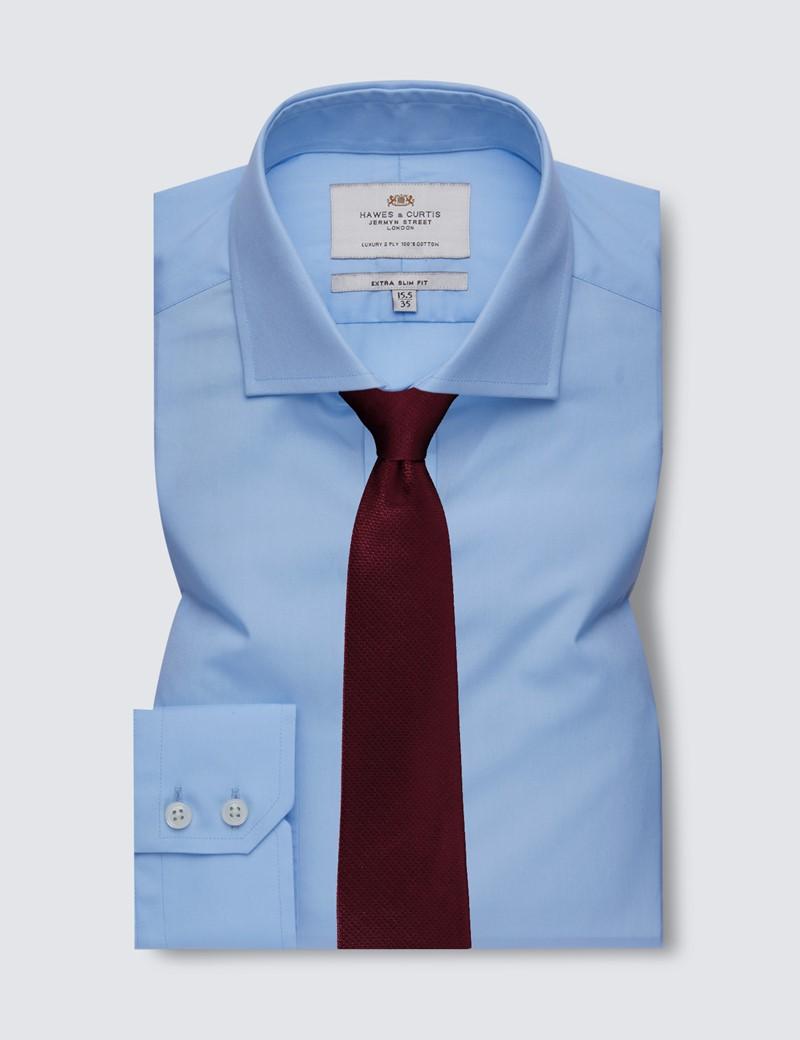 Men's Business Blue Poplin Extra Slim Fit Shirt - Windsor Collar- Single Cuff - Easy Iron