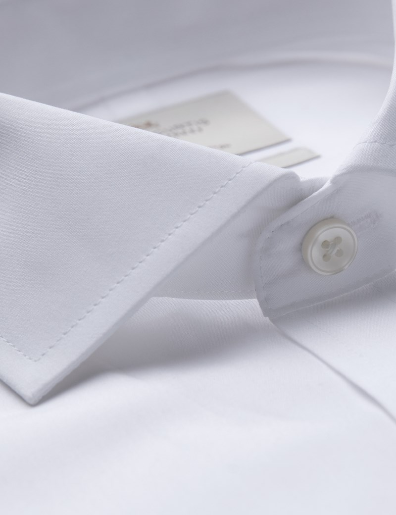 Men's Formal White Poplin Extra Slim Fit Shirt - Windsor Collar- Single Cuff - Easy Iron