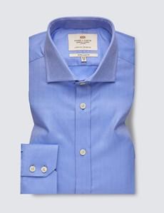Bügelleichtes Businesshemd – Extra Slim Fit – Haifischkragen – blau Fischgrat