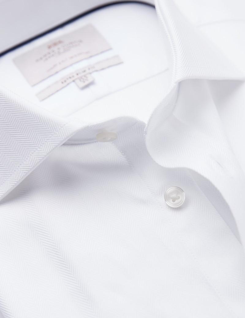Easy Iron White Herringbone Extra Slim Fit Shirt - Windsor Collar