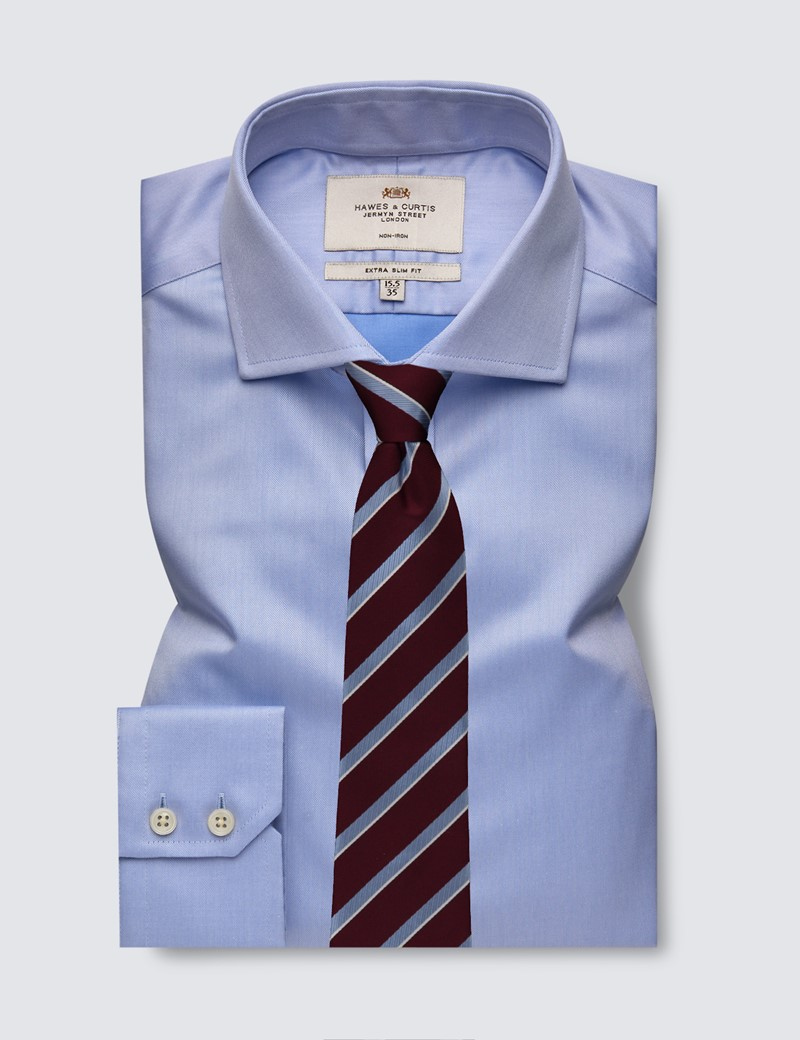 Men's Formal Blue Plain Extra Slim Fit Shirt - Single Cuff - Windsor Collar - Non Iron