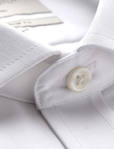 Men's Formal White Plain Extra Slim Fit Shirt - Single Cuff - Windsor Collar - Non Iron