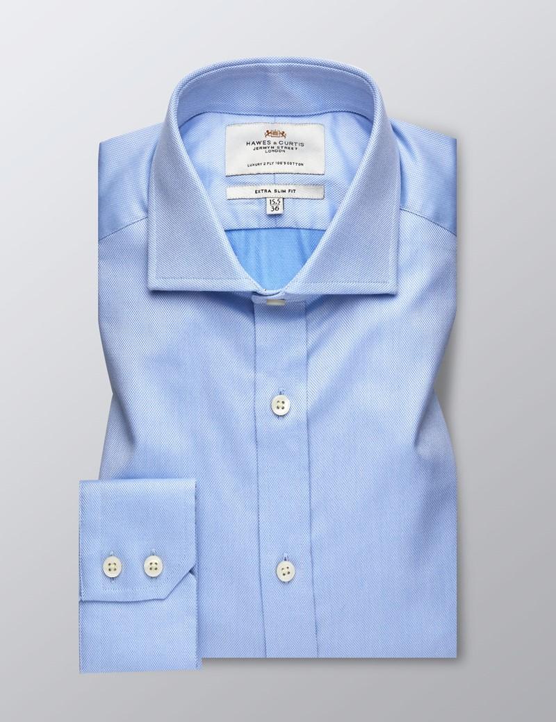 Men's Business Blue Pique Extra Slim Fit Shirt - Single Cuff - Windsor Collar - Easy Iron