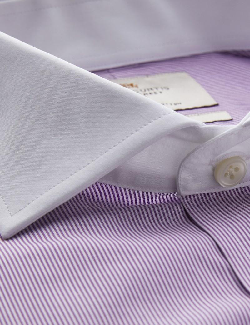 Men's Formal Purple & White Fine Stripe Extra Slim Fit Shirt - Windsor Collar- Single Cuff - Easy Iron