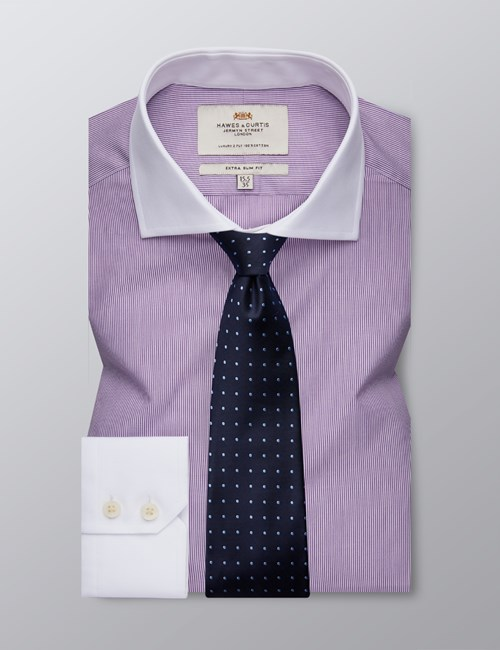 Men's Business Purple & White Fine Stripe Extra Slim Fit Shirt - Windsor Collar- Single Cuff - Easy Iron