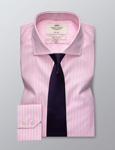Men's Dress Pink & White Bengal Stripe Extra Slim Fit Shirt - Single Cuff - Windsor Collar -  Non Iron