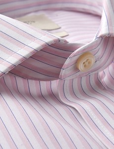 Men's Formal Pink & White Multi Stripe Extra Slim Fit Shirt - Single Cuff - Windsor Collar -  Non Iron