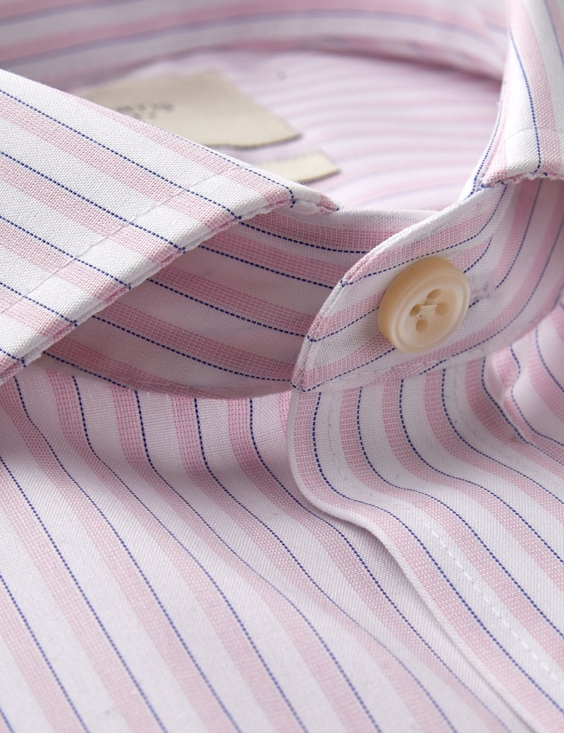 Men's Dress Pink & White Multi Stripe Extra Slim Fit Shirt - Single Cuff - Windsor Collar -  Non Iron