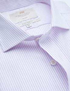 Non Iron Lilac & White Stripe Extra Slim Fit Shirt - Windsor Collar